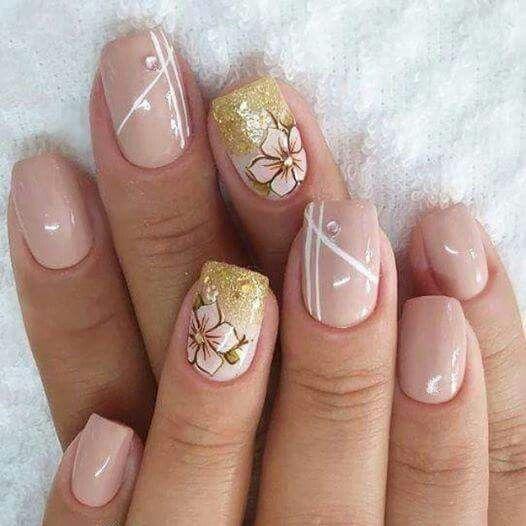 Unhas Nails Esmaltes Decorada Flores
