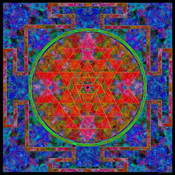 """Julian Venter. Fortune Mandala. 30 cm x 30 cm. Metal print. 180 €  POSTAGE INCLUDED.   """"I bless my good fortune and wish the same for others.""""   Look at the center of the mandala for a few minutes every day while repeating this affirmation, to align yourself with the universal flow."""
