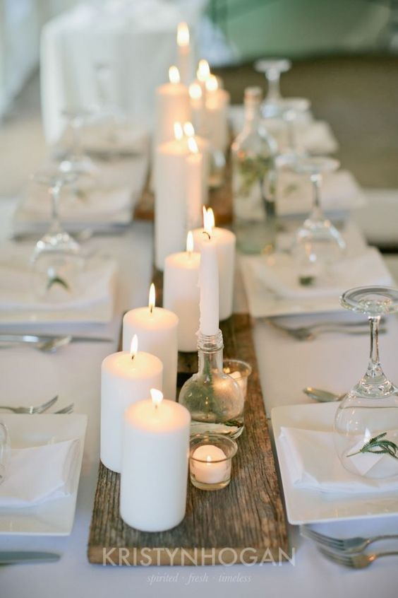 Candles on barn wood wedding table runner / http://www.himisspuff.com/wedding-table-centerpieces-runners/2/