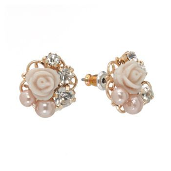LC Lauren Conrad Gold Tone Simulated Crystal and Simulated Pearl Flower Stud Earrings