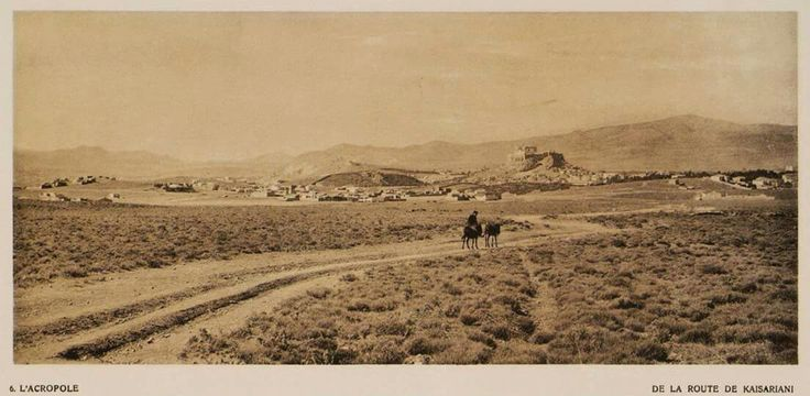 ΑΘΗΝΑ  Ο χωματόδρομος συνδέει την περιοχή της Καισαριανής με την Αθήνα 1919. Στο βάθος η Ακρόπολη.   Βιβλιοθήκη Ιδρύματος Αικατερίνης Λασκαρίδη.  mixanitouxronou.gr