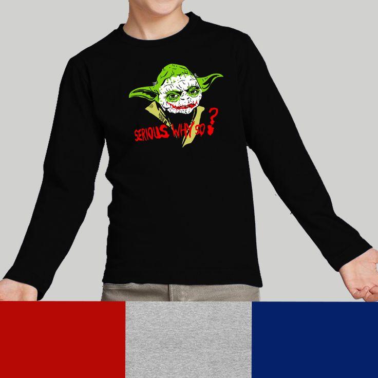 Camiseta niño Serious Why So?, parodia Why so serious? - The Joker - Star Wars - Batman - La guerra de las galaxias - Yoda