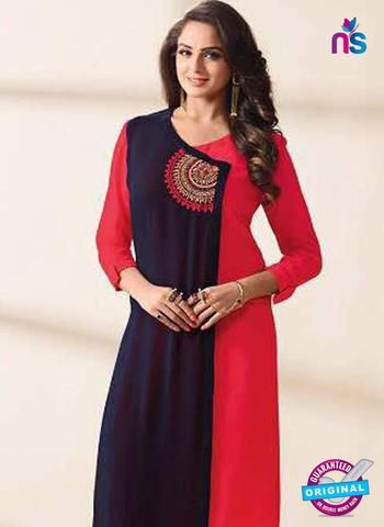 LT 1209 Blue and Red Indo Western Tunics Online Shopping from Newshop.in.  #indowesterntunicsonlineshopping #buydesignerkurtis #blue #newshop