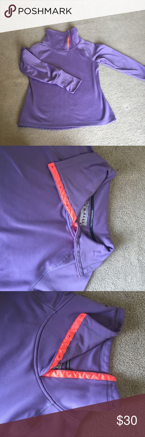 Champion workout pullover Beautiful light purple and neon orange/pink buttons and logo. Duo fold warm CTRL. Size medium. This can button up to a turtle neck or fold down. Good condition. Feel free to make an offer! Bundle and save! Champion Tops Sweatshirts & Hoodies