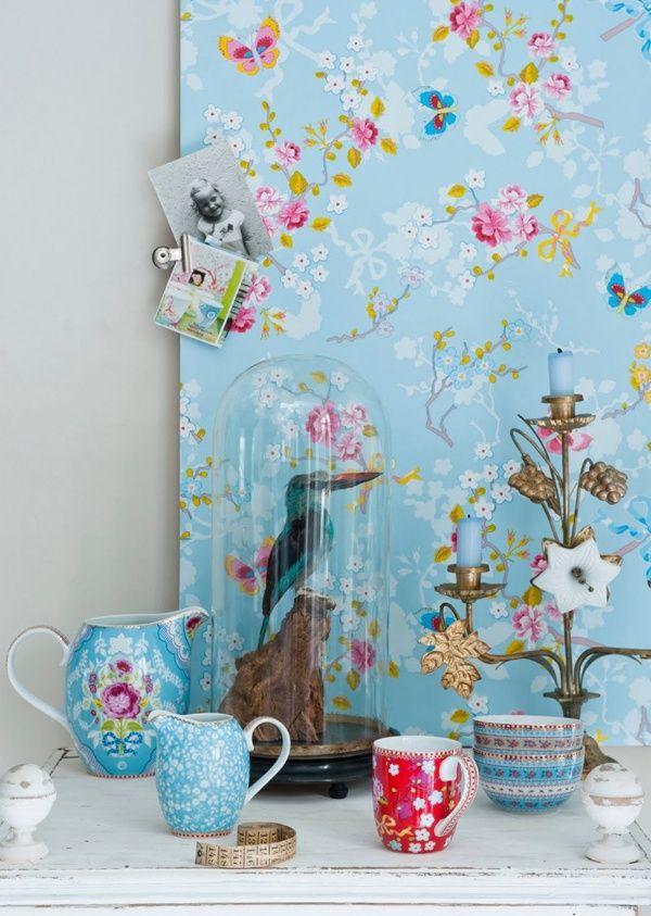 Pip Tapete Cherry Blossom : Chinese PIP Blue Rose Wallpaper
