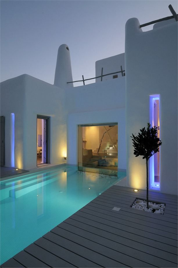 Summer house in Paros, Greece  http://www.archilovers.com - sweet neon 'South Beach' look!