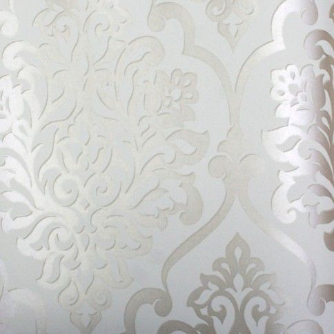 "Mood Living ""Nino"" Silver and White Damask Wallpaper I think this could be awesome in the dining room- doubt matt will go for it..."
