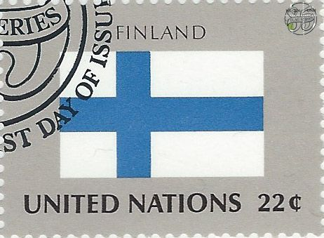 national flag on UN stamp:finland