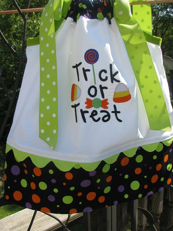 trick or treat applique pillowcase dress by PJQuilts on Etsy, $29.99