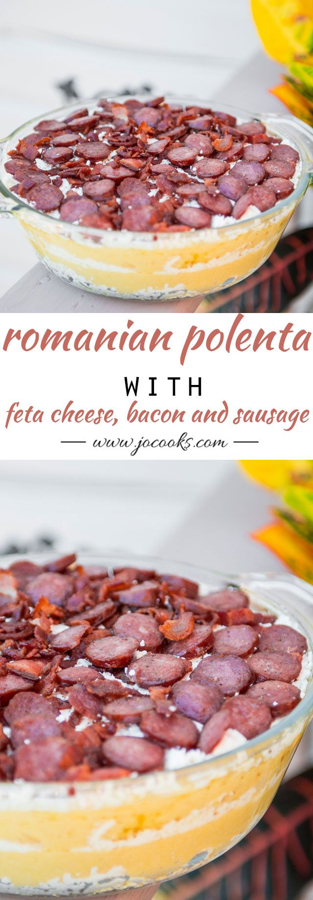 Traditional Romanian Polenta with Feta Cheese, Bacon and Sausage known as Mamaliga cu Branza in Paturi is a dish I've grown up with and am very fond of. It's hearty, delicious and satisfying.
