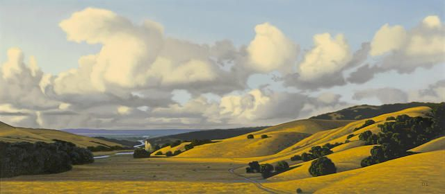 David Ligare (born 1945) Landscape with Stratus Clouds, 1998  signed with artist's initials 'DL' (lower right); signed again, dated and inscribed '1998' (on the reverse) oil on canvas