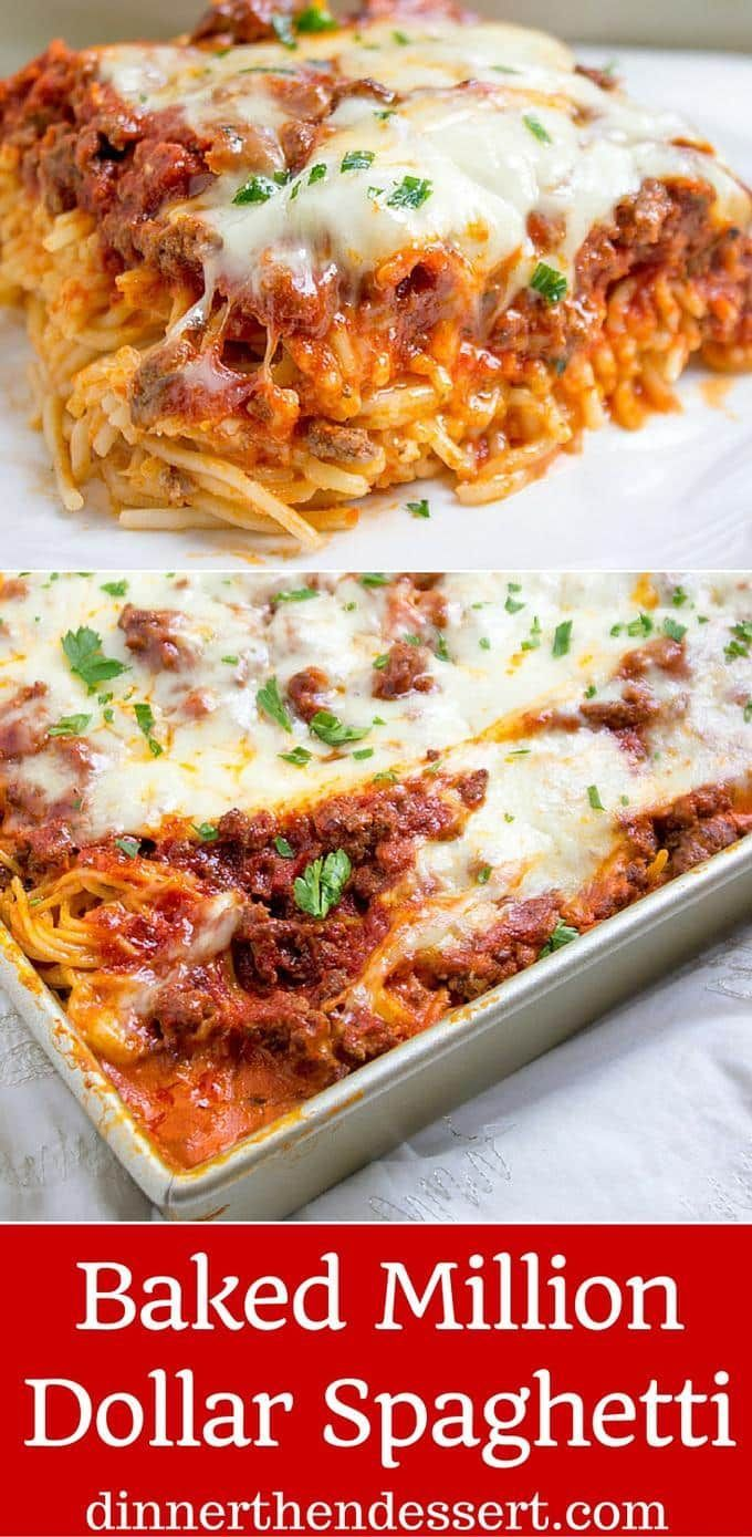 Baked Million Dollar Spaghetti is creamy with a melty cheese center, topped with meat sauce and extra bubbly cheese. Tastes like a cross between baked ziti and lasagna with half the effort!