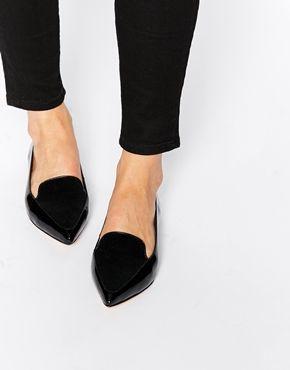 Dune Austine Black Patent Pony Effect Ponited Flat Shoes