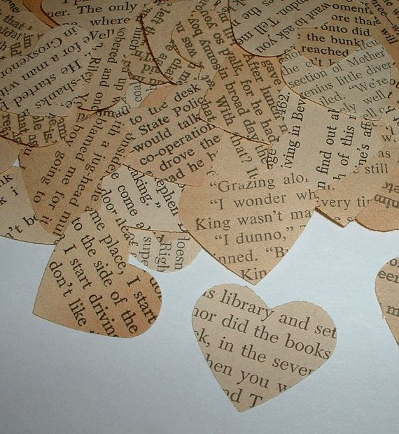 500 Vintage Hearts - Book Themed Party, Shower and Wedding Table Confetti - Hand Punched from Aged Pages via Etsy