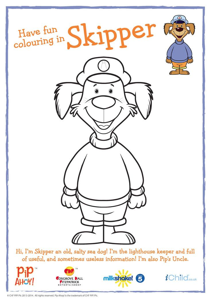 Uncle Skipper colouring in activity available from #PipAhoyUK section on ichild.co.uk
