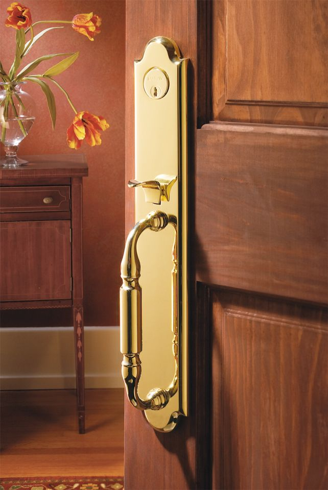 #Hazeltonwooddesigns #Hazelton #wood #designs & #Baldwin #hardware bring you #solid #forged #decorative #handleset  with #intricate #pull #push #featured #design & #lock #system for #solid #wood #house #home #exterior #doors.