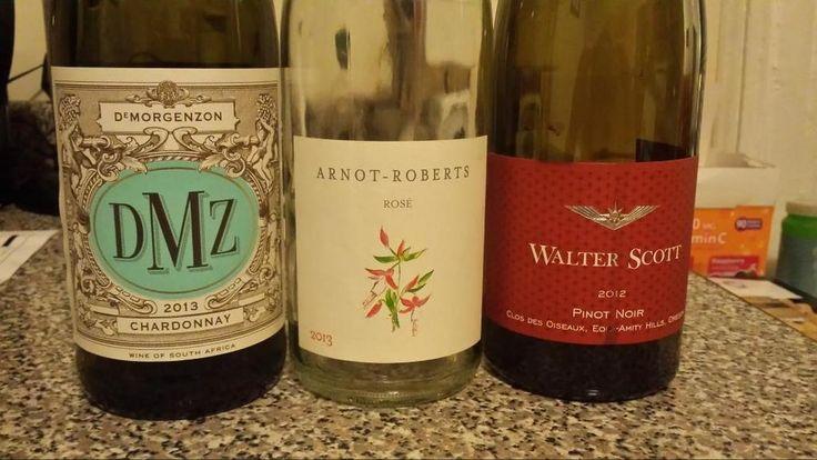 Tonight's book club line up: @DMZwine  chard, Arnot - Roberts rose, @walterscottwine pinot = very good night pic.twitter.com/WpdEWRjUXN