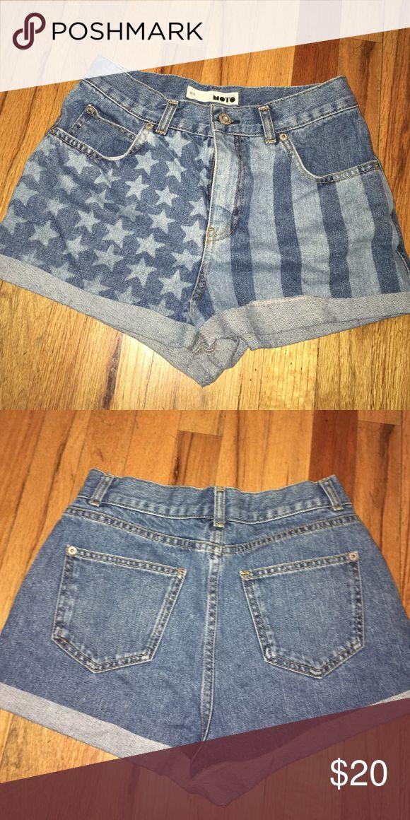 American Flag Print High Waisted Jean Shorts American Flag Printed on front only Topshop Shorts Jean Shorts