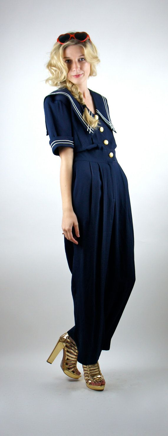 Sailor Style Jumpsuit / Jumper / Pants / by HotelBrahvoVintage $48
