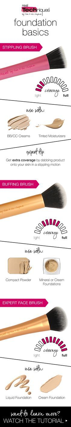 real techniques foundation brush overview - stippling, buffing & expert face brush tips
