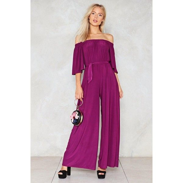 Nasty Gal On a Night Like This Off-the-Shoulder Jumpsuit (£46) ❤ liked on Polyvore featuring jumpsuits, purple, nasty gal jumpsuit, wide leg jumpsuit, jump suit, purple jumpsuit and off the shoulder jumpsuit