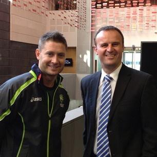 With Michael Clarke - Australian Cricket Captain