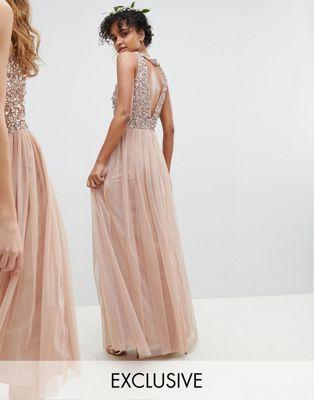 550ae0b7d437 Maya Sleeveless Sequin Bodice Tulle Detail Maxi Bridesmaid Dress With  Cutout Back