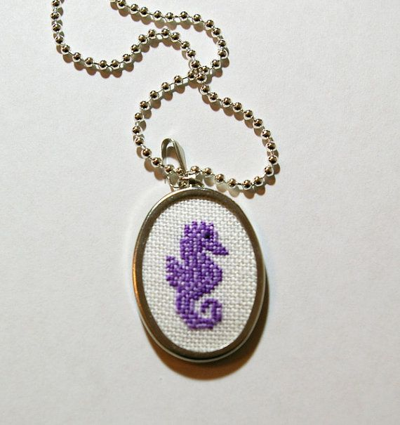Seahorse Cross Stitch Pendant Necklace Made by BlueTopazStitchery, $23.00