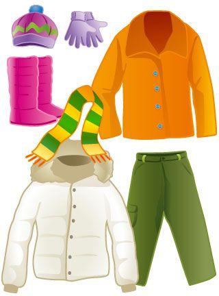 Ubrania na zimę. Ilustracje do książki.