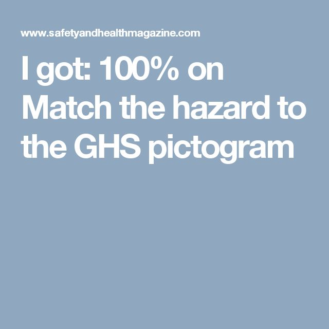 I got:  100% on Match the hazard to the GHS pictogram