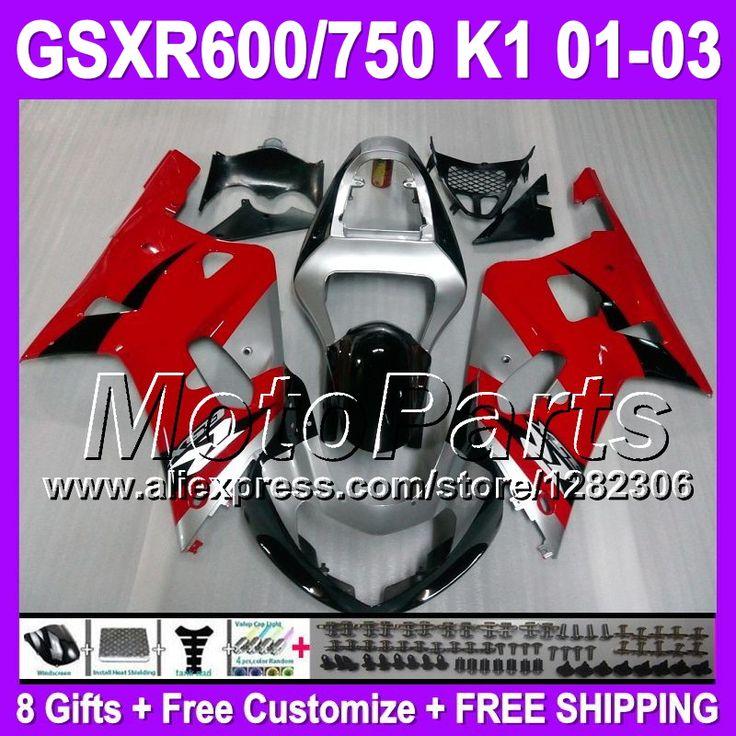 Красный серебристый + капот для SUZUKI GSXR600 K1 GSX R600 GSXR 600 01 02 03 горячий красный черный T341 GSX-R600 GSXR-600 2001 2002 2003 обтекатели
