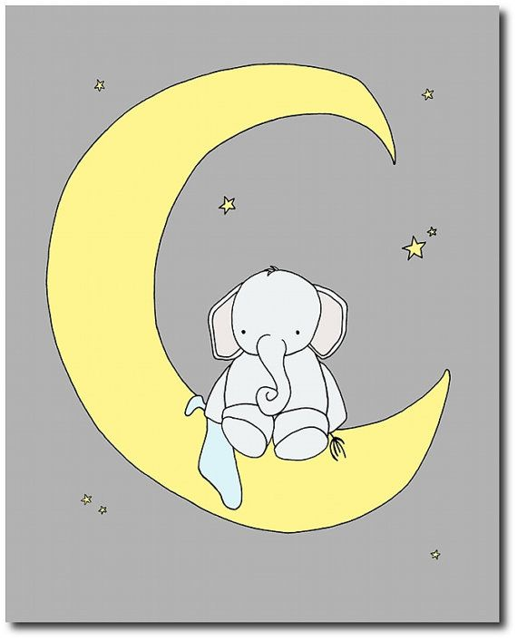 Elephant Nursery Art Yellow and Gray by SweetMelodyDesigns