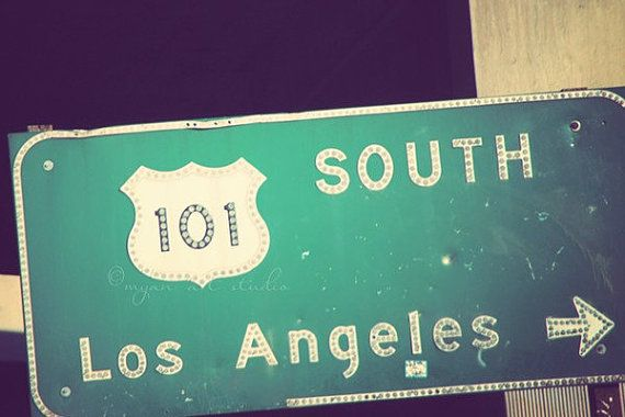 freeway photograph  the 101 Los Angeles street sign  by MyanSoffia, $33.00