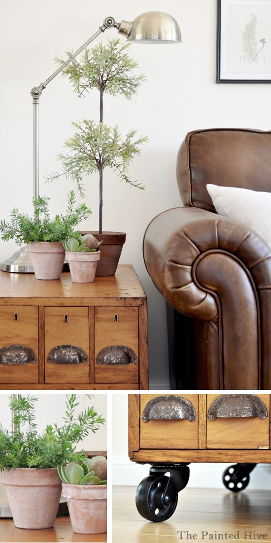 Beautiful rustic/industrial living room makeover @ThePaintedHive.blogspot.com