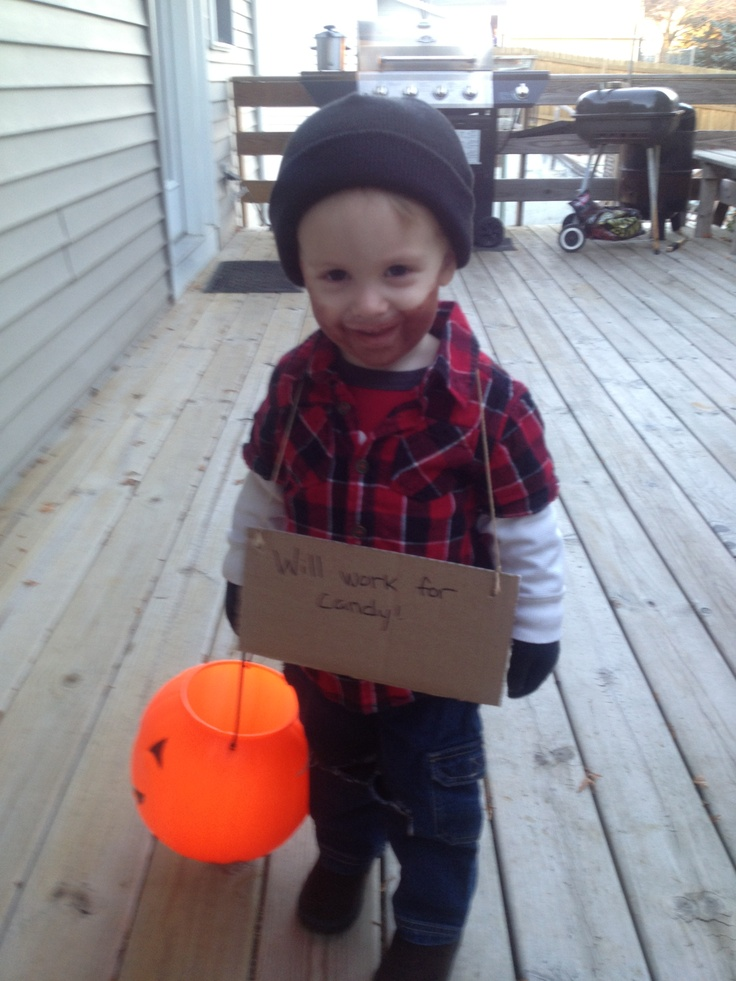 """""""Bum costume."""" Nothing at all cute about making light of homelessness. Pray your child never has the misfortune of being displaced. Homelessness is not a costume, it's a very real condition that effects hundreds of thousands of children.   To the parents of this child: Do better."""