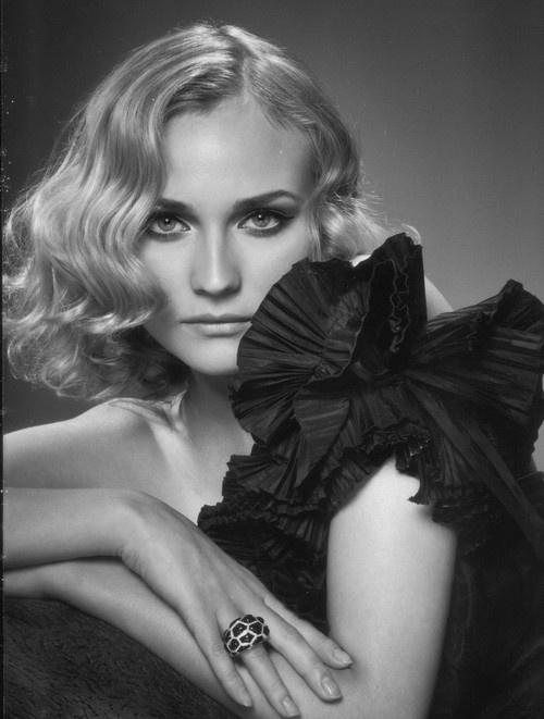 Diane Kruger: Beautiful Curls, Diane Krueger, Black Whit, Belle, Portraits, Soft Curls, Hair, Actresses, Diane Kruger