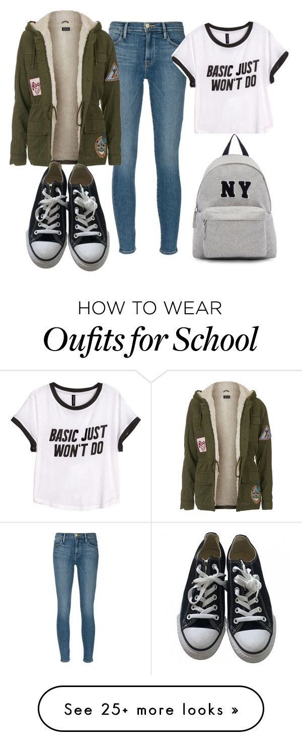 """school"" by kinderlili on Polyvore featuring Frame Denim, Topshop, Converse, H&M and Joshua's"