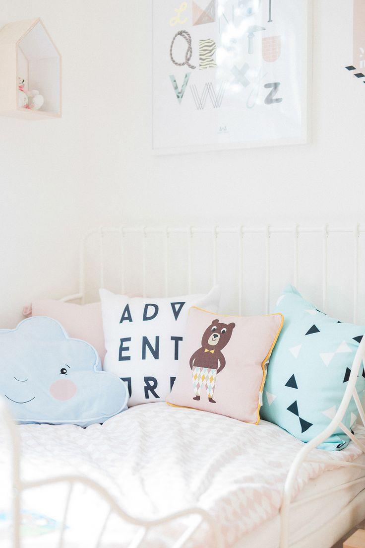Ikea MINNEN bed + Ferm Living bear pillow | Scandinavian shared kids room - light-filled, pastel baby + toddler playroom | Happy Grey Lucky