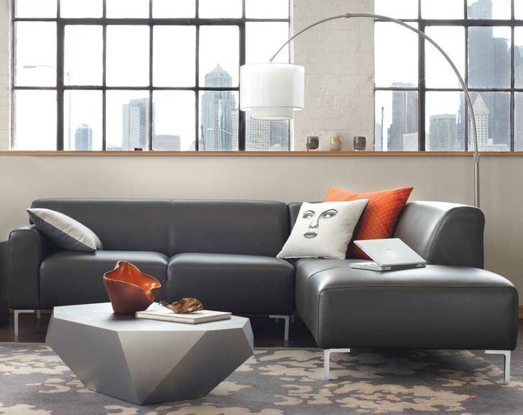 Tosca Sectional In Gray Leather Diamante Coffee Table
