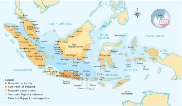 Majapahit was a Hindu-Buddhist vast thalassocratic archipelagic empire based on the island of Java from 1293 to around 1527. According to the Nagarakretagama (Desawarñana) written in 1365, Majapahit was an empire of 98 tributaries, stretching from Sumatra to New Guinea; consisting of present day Indonesia, Singapore, Malaysia, Brunei, southern Thailand, Sulu Archipelago, Manila, and East Timor.