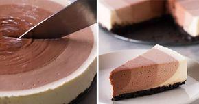 Recept na nepečený čokoládový cheesecake so štyrmi rôznymi vrstvami krému! Vychutnajte si jedinečný ombre efekt na obľúbenom dezerte! Mňamka