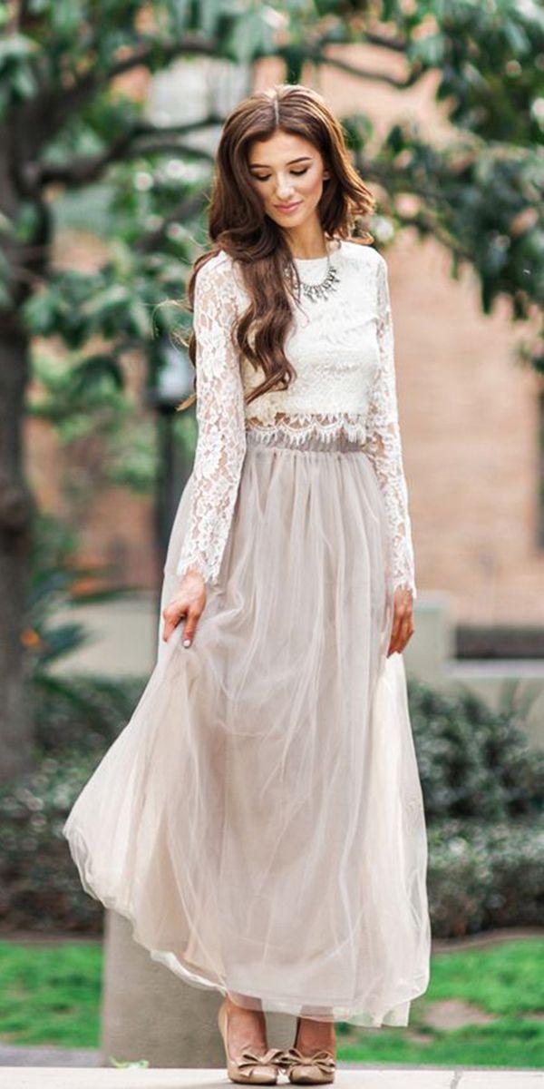 db9a6578f34 Cream Long Sleeve Sheer Lace Crop Top. Detached Cream Long Sheer Maxi  Skirt. Neutral tones.