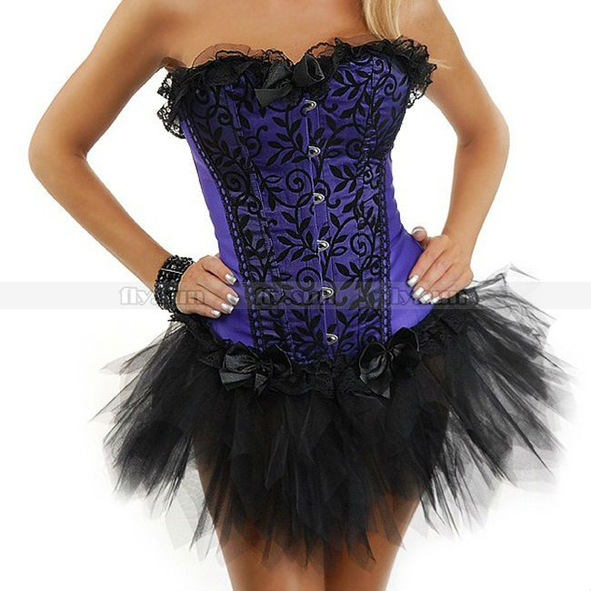 Purple Lace Overlay Overbust Corset Outerwear Lace up Bustier Sexy Lingerie Top + TuTu Skirt S M L XL 2XL