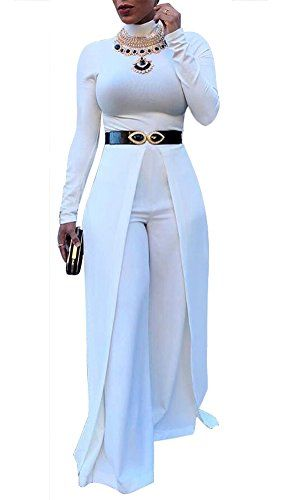 48634ceb9dc  29.99 Dreamparis Womens Wide Leg Jumpsuits Romper Long Sleeve High Waisted  Flare Palazzo Pants Suit White S