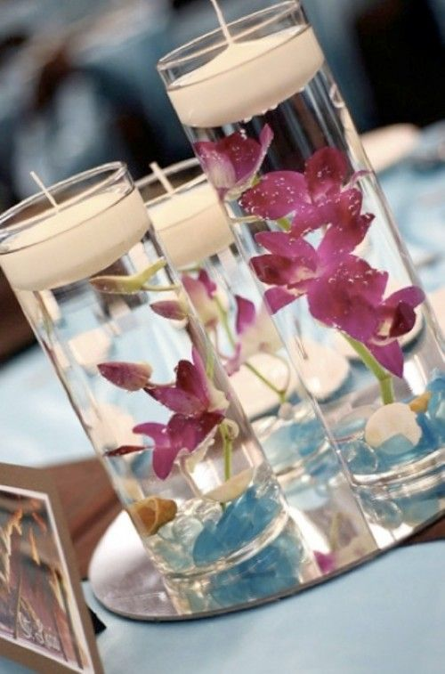 Wedding Centerpieces Maybe too far in advance, but small and actually really cheap way to decorate for the ceremony/reception. Before you start up Chris, it will not be purple :-)