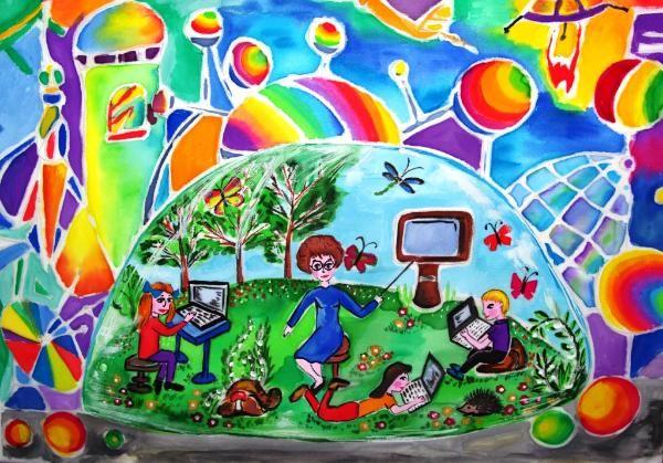 """Школа будущего - School of the Future    Artist:Anastasiya E.  Location:Kramatorsk, Ukraine  Age:13  """"в мире без ядерного оружия дети счастливо живут и учатся""""     """"Children live and study happily in a world without nuclear weap"""