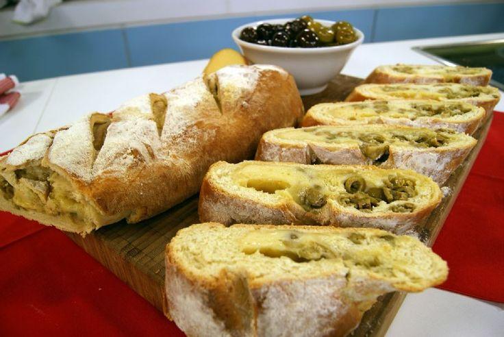 Pão Recheado com Azeitona e Provolone   Receitas   Dia Dia