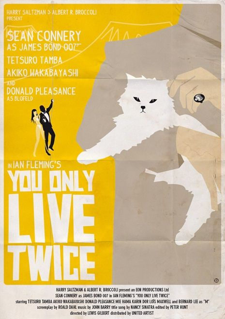"James Bond Movie Posters in the style of Saul Bass -  ""You Only Live Twice."""