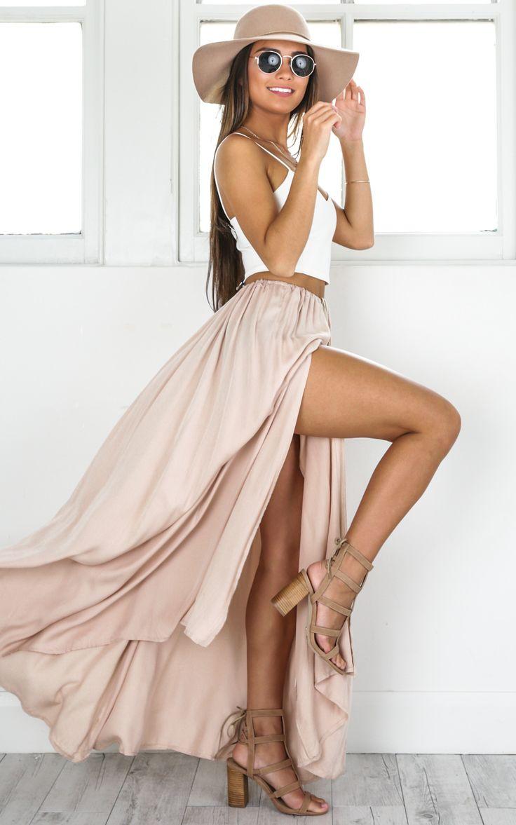 showpo, showpo skirt, beige skirt, beige, skirt, beige maxi skirt, maxi skirt