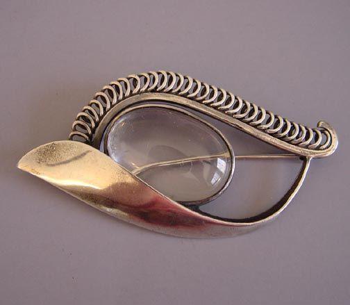 Brooch   Margaret De Patta. Sterling silver and rock crystal.  c. 1930 - 1964